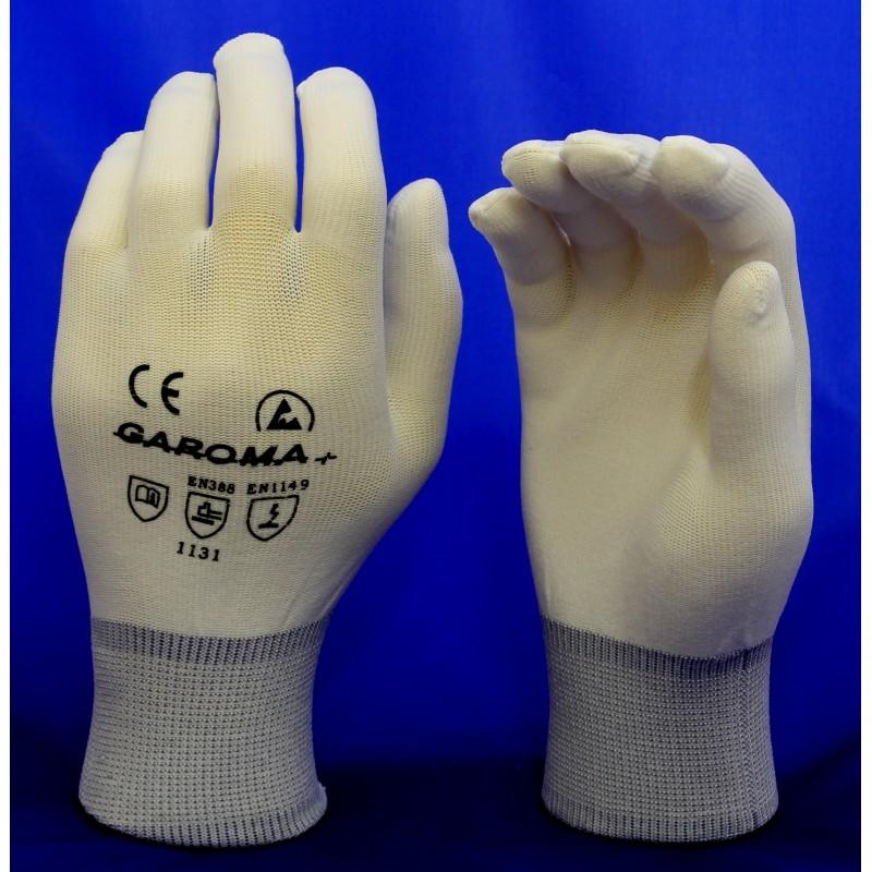 Rukavice ESD antistatické z bílého nylonu velikost S, M, L, XL