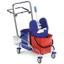 Vozík úklidový FILMOP 8017, 2 x 15L, chrom, košík, držák pytle