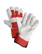 Kombinované rukavice, kůže+textil